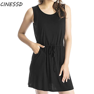 Casual Maternity Nursing Dress Women Breastfeeding Clothes for Pregnant Solid Sleeveless Dress with Belt Pregnancy 2020