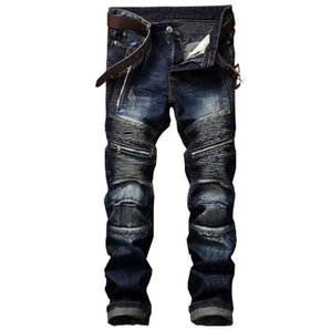 Newsosoo Men's Pleated Biker Jeans Pants Slim Fit Motocycle Denim Trousers For Male Straight Washed Multi Zipper
