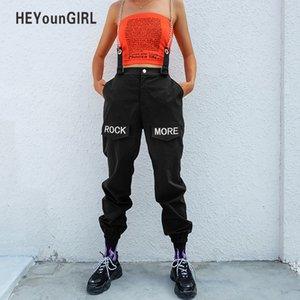 Heyoungirl hip hop patchwork zincirleri pantolon kadın elastik yüksek bel siyah parça pantolon capris nakış mektup pantolon kadın