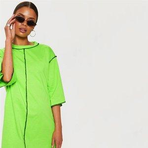 Été Femmes Patchwork long T-shirts manches demi desserrées dames solides T-shirts ras du cou Mode Femme Vêtements