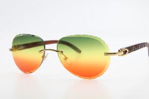 도매 태양 안경 핫 3,524,016 무테 골드 우드 선글라스 나무 트리밍 렌즈 남여 운전 안경 녹색 적색 새로운 조각 조각