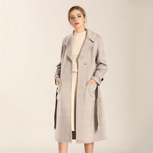 Wool Coat Women Korean Plaid Ladies Coats and Jackets Double Sided Long Jacket Elegant Abrigos Mujer Invierno 2020 9R806 YY519