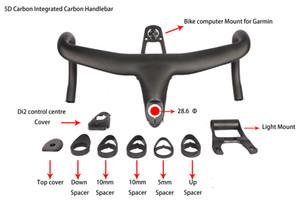 Il più nuovo carbonio pieno 5D ha integrato il manubrio della bicicletta della strada della barra di goccia il tessuto di 28.6mm UD con il supporto del computer della bici trasporto libero