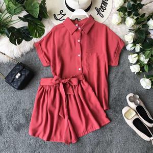 Two Piece Dress Amolapha Women Summer Soild Singe Breasted Blouses Shirt+Sashes Wide Leg Shorts 2 Pieces Clothing Sets Short Pants Suit