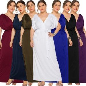 2.020 Tamanho Grande Womens New Sexy cor sólida V-neck Loose-Fit Big balanço Vestido