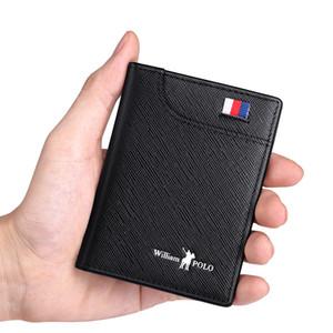 جلد طبيعي الرجال محافظ رقيقة الذكور المحفظة بطاقة حامل cowskin الناعمة المحافظ مصغرة تصميم جديد خمر الرجال قصيرة ضئيلة محفظة J190719