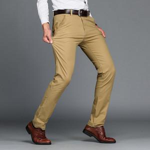 Mens klassische beiläufige Khaki-Hosen Männer Geschäfts-Kleid Slim Fit elastische Jogger Lange Hose Männlich Kleidung Baumwolle Arbeitshose Schwarz