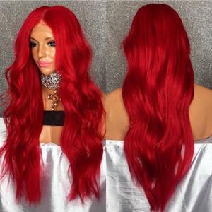 Frente del cordón rojo Coplor onda natural del pelo peluca larga atractiva de colores pastel peluca para las mujeres de calor sintético resistente peluca