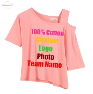 Rock Cute Custom Made Logo Oversized Summer Sexy Women Top T Shirt Off Shoulder Slash Neck Female Tees Solid Lady Cotten