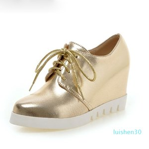 Hot Sale- Sliver Color Height Increasing Shoes for Woman Fashion Pointed Toe Lace Up Casual Shoes Women Platforms Wedges Size 34-43 l30