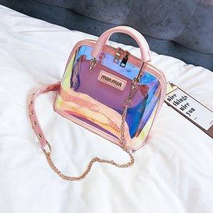 S.IKRR Transparent Bag Clear Shoulder Bag Handbags Women Bags 2020 Laser Holographic Sequins Small Shell Bags