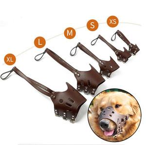 Küçük Orta Büyük Köpekler Ağız Pet Sarf Malzemesi PU Deri Pet Köpek Namlu Ayarlanabilir Nefes Dog Önleme Bite Chew Maskeler