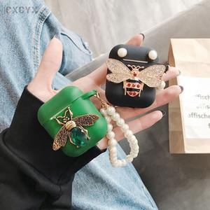 Mytoto mode 3D de diamant Bee perle Bracelet silicone bling paillettes casque cas Ecouteur Pour AirPod 2 Accessoires Funda mignon