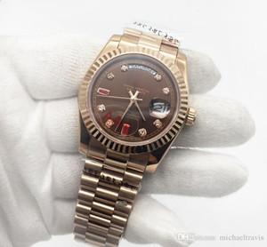 asian2813 Automatikwerk 40MM Big Diamonds Rose Gehäuse Saphir Uhr RO DAYDATE 228206 316L Original Armbanduhr