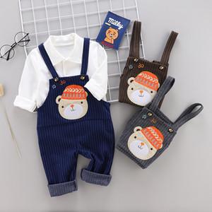 2019 Primavera Crianças T-shirt pullover Listrado dos desenhos animados Bib calça fatos de Treino Roupa Dos Miúdos set Bebê Meninos Sportswear ternos calças