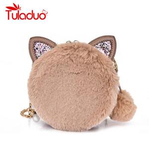 여성용 소형 겨울 핸드백 Faux Fur Luxury Designer 여성용 귀여운 고양이 숄더 백 여성용 크로스 바디 라운드 클러치 백