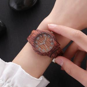 Regalos de madera de bambú del diseño del reloj de lujo de simulación de madera reloj ocasional del reloj de San Valentín Día de Navidad Año Nuevo cumpleaños
