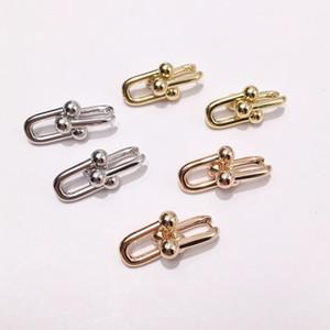 Ventas calientes moda joyería de acero de titanio ráfaga T letra anillo pendientes 2 sección u cadena uña uña