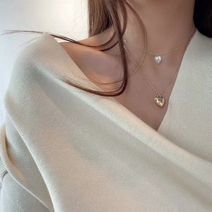 Kpop Fashion Female Clavicle Heart-Shaped Pearl Pendant Peach Heart Multi-Layer Clavicle Neck Chain Necklace Aesthetic Jewelry