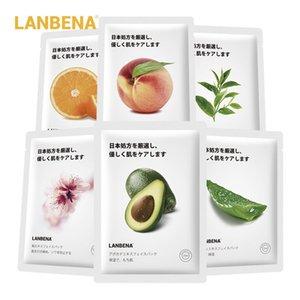 LANBENA قناع الفاكهة الوجه الجلد مصنع قناع مرطب العناية السيطرة على نفط لف العنب الأفوكادو العسل الخيزران الشاي جريب فروت الوجه ورقة قناع