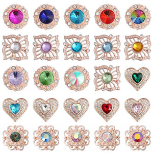 6pcs / lot New Rose Gold Snap Button Jewely Rhinestone Crystal Love Heart Snap Butter for 18MM
