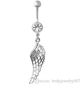 D0502-1 ( 3 colors ) Nice feather style navel button ring clear,aqua, pink colors piercing body jewlery 1.6*11*5 8 belly ring