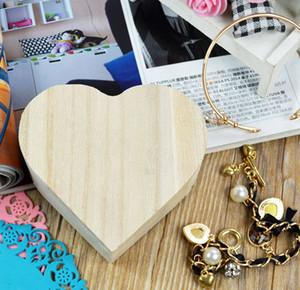 A forma di cuore in legno contenitore di scatole di immagazzinaggio Jewelry Box Regalo Di Nozze Home Storage Bin anelli orecchini scatola di favore di partito FFA3672