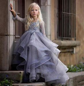 2019 lila lange Ärmel Blumenmädchen Kleid mit 3D Blumenapplikationen Spitze Ballkleider Für Prinzessin Geburtstag Party Kleid Vestidos