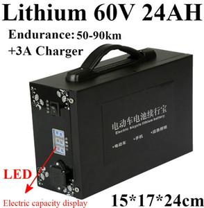 Leistungsstarke LED Batterie Kapazitätsanzeige 60V 24AH Lithium Batterie Portable 60V 24AH für 3000W 1800W 60V Elektroauto Dreirad AGV