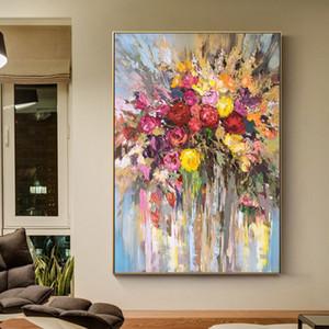 Canlı Odası Home Decor için Tuval Wall Art Duvar süsleme Resimleri Resim Üzerine% 100 El Boyalı Soyut Çiçekler Sanat Yağlıboya Resim