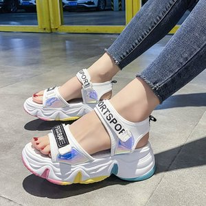 Mode Femmes Chaussures 2020 Med Beige Sandales Chaussures Muffins Wedge Espadrilles Plateforme Talons été Medium