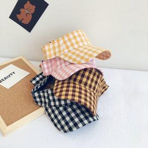 Korean Fashion Ins Simple arc Plaid enfants Vider Haut Cap Voyage d'été Chapeau de soleil