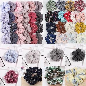 US Stock Scrunchies Headband Dot Stripe Hairbands Large Intestine Hair Ties Ropes Girls Ponytail Holder Trendy Hair Accessories 65 Designs