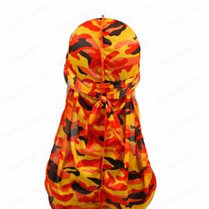 موضة كامو رجال حريري Durags العمامة طباعة الرجال الحرير Durag أغطية الرأس Bandans العصابة اكسسوارات الشعر القراصنة قبعة موجات الخرق