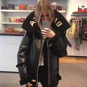Шерстяные пальто шерсти женщин способа кожаные куртки женщин осень зима теплая куртки замша верхние части Верхняя одежда шинель шуба
