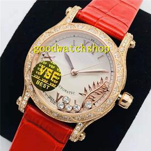 VS Top feliz de la mujer del reloj del deporte del reloj de señoras del diamante suizo 9015 Mecánica 28800 VPH cristal de zafiro automático de 18 quilates de oro rosa Bisel Diamante