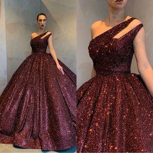 2020 Tarde reflectante vestidos sin mangas de Borgoña balón vestido de lentejuelas de un hombro desgaste vacaciones Celebrity Prom Vestidos más el tamaño por encargo