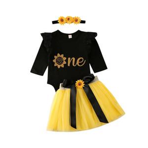 Infant neonate 1st Birthday copre gli insiemi 0-18M Fiore Tops pagliaccetto del merletto tutu fascia 3pcs del partito dei vestiti
