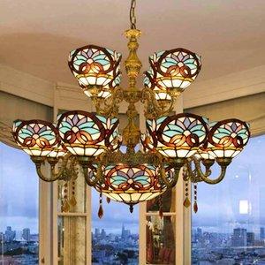 유럽 복고풍 샹들리에 창조적 인 티파니 유리 장식 램프 거실 더블 빌라 대형 샹들리에 사랑 바로크 램프 스테인드