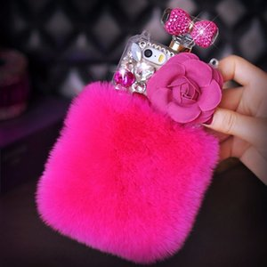 Top Designer Rabbit Hair Diamond Phone case Cover for iphone 11pro max Xs XR Xsmax 7 8plus perfume bottle shape Protective shell for iphone