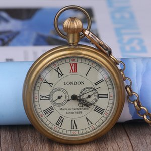 Vintage London Coverless Steampunk Mecânica Relógio de Bolso dos homens e das Mulheres de Bronze Jóias Relógio de Bolso