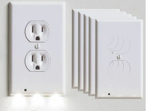 Steckdose Abdeckplatte mit LED-Nachtlichter, Sicherheits-Lichtsensor-Stecker-Abdeckung Platte Sockelschalterabdeckung für Flur