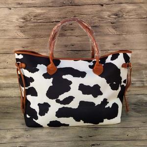 Toile Vache Imprimé Sac fourre-tout grande capacité Weekender Sac Sac à main blanc noir vache Cacher à main en cuir Sac à bandoulière DOM-1081219