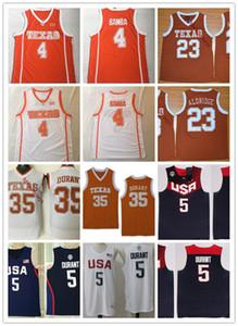 Mens Texas Longhorns Kevin Durant Basketball Jersey 4 Mohamed Bamba 23 LaMarcus Aldridge 35 Kevin Durant Texas Longhorns Jersey S-3XL