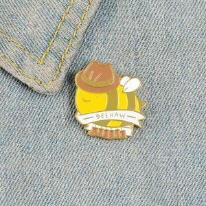 Bee Emaillestifte Mr. Cowboy Bienenstift Abzeichen BEEHAW Yellow Gentleman Hut Insekt Broschen Revers Kleidung Rucksack Tasche Tier Schmuck Geschenke