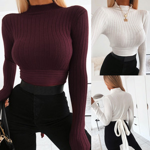 Frauen Langarm-Pullover Winter-Volltonfarben hohe Kragen Zurück Krawattenknoten Crop Tops Pullover Harajuku dünne Knit Basic Pullover