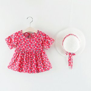 2019 New Hot-deal Sweet Kids Baby Girl Short Sleeve Dress Flower Party Pageant Dresses + Hat Sunsuit Summer Fashion Clothes