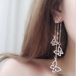 designer jewelry S925 sterling silver needle earrings for women asymmetry long butterfly earrings hot fashion free of shipping