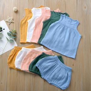 ملابس الفتيات الصغيرات الصغيرات الصغيرات الصغيرات الصغيرات السراويل قصيرة 2pcs Set Breathable Cotton Linen Children Dresses Summer Baby Clothes 5 Colors DW5198