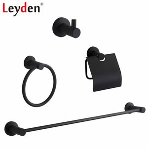 Leyden Black 304 Stainless Steel Single 4pcs Bathroom Accessories Set Single Towel Bar Toilet Paper Holder Robe Hook Towel Ring